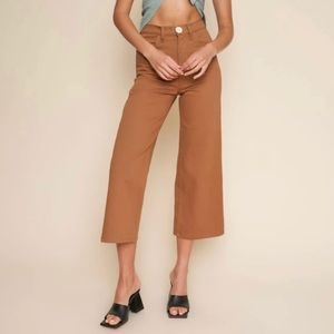 Whimsy + Row Flora Wide Leg Cropped Pants in Tan